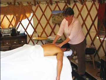 Having a relaxing massage at the home education gathering