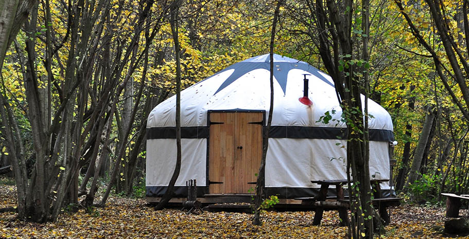 One of the Yurts at WoWo Campsite in East Sussex. A more glamorous way to stay.