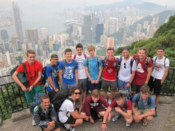 Overlooking Hong King on the layover return from Borneo. The group of boys is from a london school.