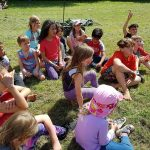 Group of children in a lesson at the wild festival