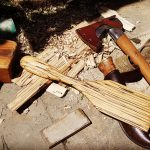 Wood carving - spalted spatula made with an axe and knife