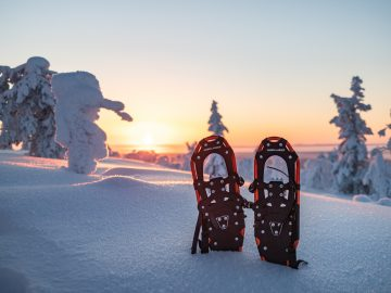 Snow shoes sunset