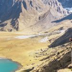 expeditions to Peru on the Inca trail with a backpack walking poles and a beautiful lake in a valley below-hiking-hero