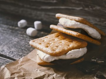 smores on brown paper cooking class over the campfire