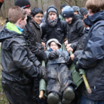 survival and bushcraft training weekend where the students learnt important first aid skills and stretcher carrying of a casualty