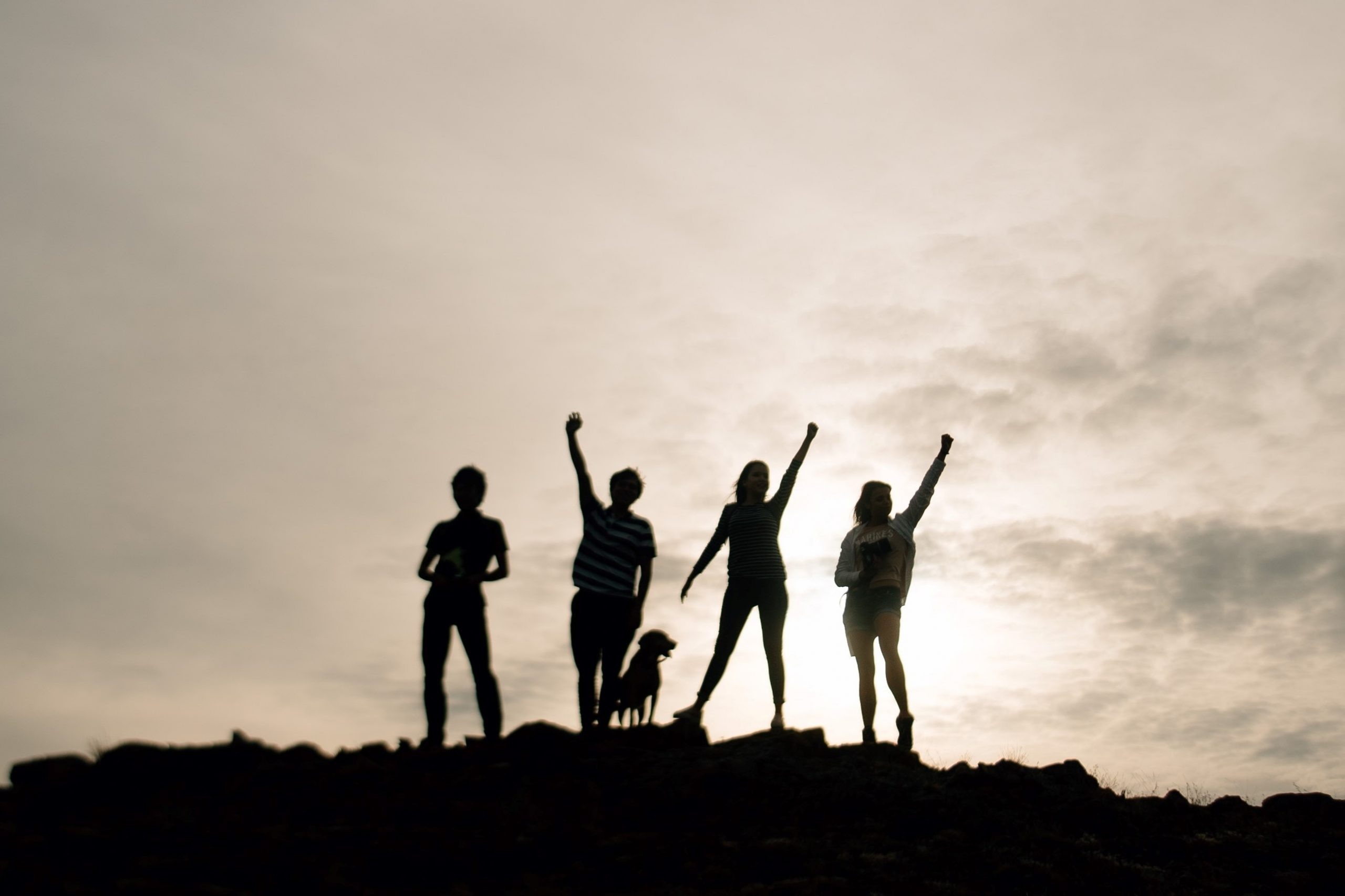 people friends with hands in the air silhouetted by the setting sun